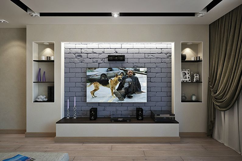 Гипсокартонная ниша под телевизор